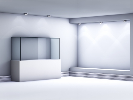 3d glass showcase and niche with spotlights for exhibit in the gallery  Stock Photo - 14571620