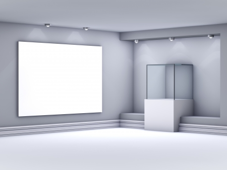 3d glass showcase with lightbox for exhibit in the gallery  photo