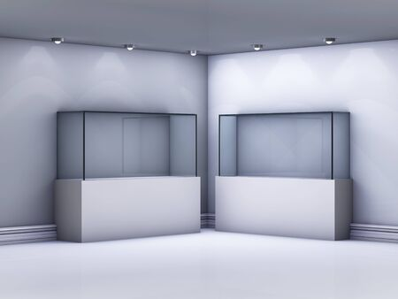Empty glass showcases in the gallery  photo