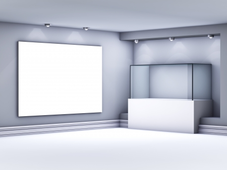 3d glass showcase and lightbox with spotlights for exhibit in the gallery  photo