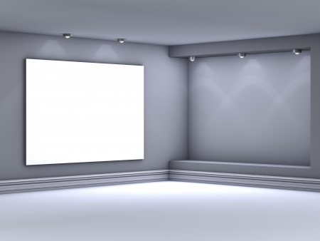 3d empty niche with spotlights for exhibit in the grey interior  photo