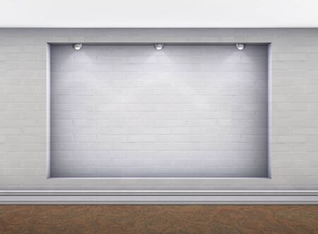 3d empty niche with spotlights for exhibit in the gallery photo