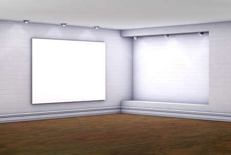 niche: 3d empty niche with lightbox for exhibit in the gallery Stock Photo
