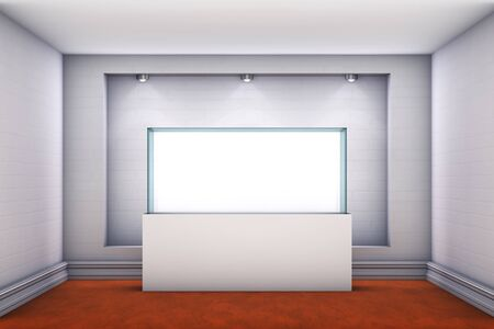 3d glass showcase and niche with spotlights for exhibit in the gallery  photo