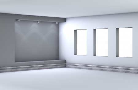 3d empty niche with spotlights for exhibit in the grey interior