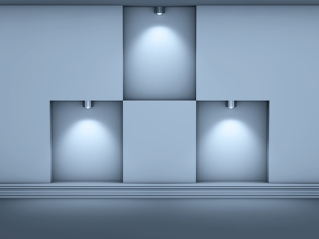 3d empty niches with spotlights for exhibit in the grey interior  photo