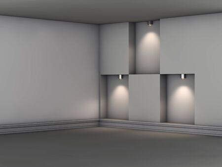 niches: 3d empty niches with spotlights for exhibit in the grey interior