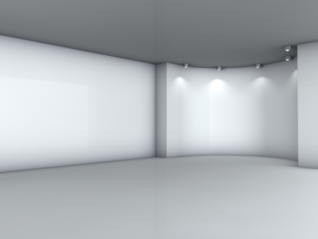 niche: 3d empty niche with spotlights for exhibit in the grey interior