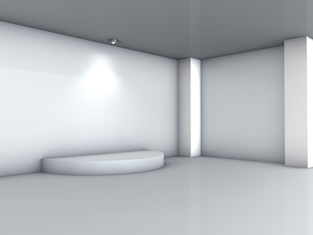 3d podium and spotlight for exhibit in the grey interior  photo