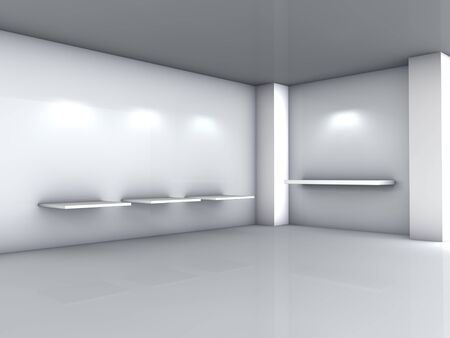 3d shelves and spotlights for exhibit in the grey interior  photo