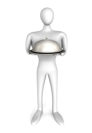 waiter with silver tray photo