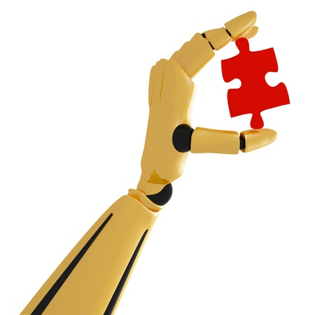 3d golden robotic hand with puzzle photo