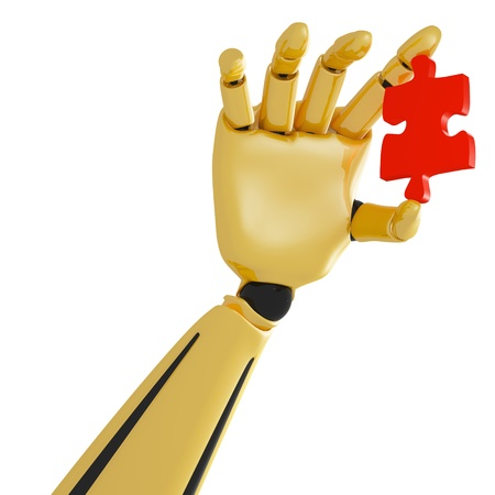 3d golden robotic hand with red puzzle photo