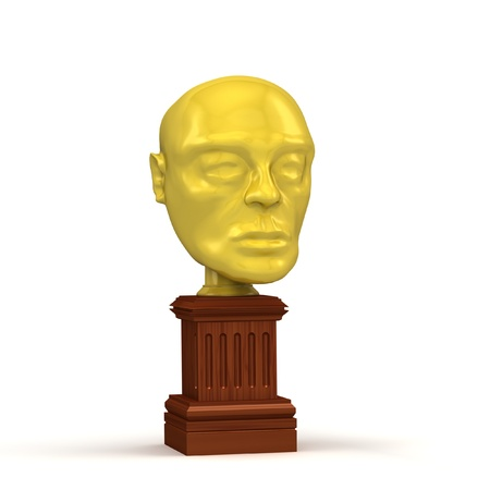 Golden head award isolated on the white background  Stock Photo - 14571459