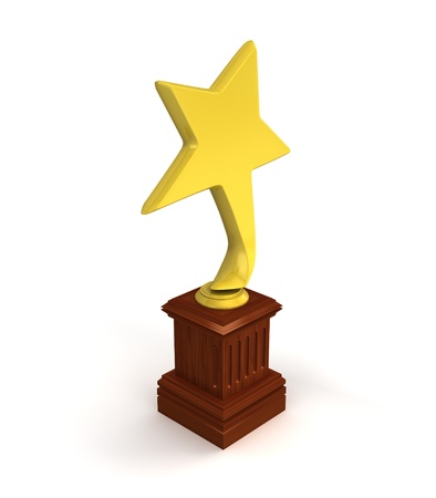 Golden star award isolated on the white background  Stock Photo - 14571525