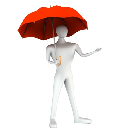 3d man with red umbrella photo