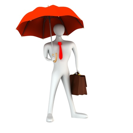 3d person with briefcase and umbrella photo