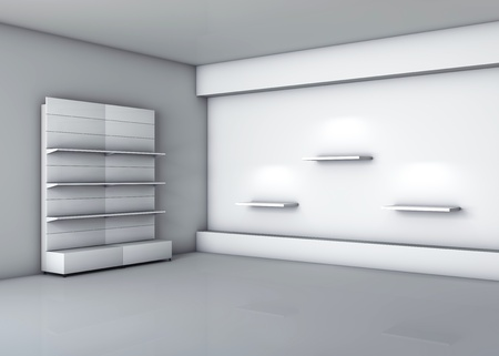 3d stands with shelves for exhibit in the grey interior  photo