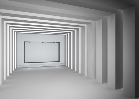 3d empty niche with spotlights for exhibit in the bright interior   photo