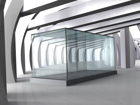 Leeg glas showcase in grijze kamer met kolommen
