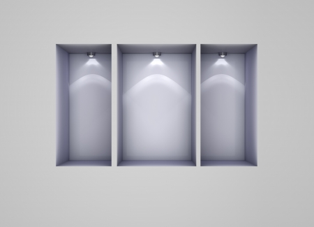3d empty niches with spotlights for exhibit photo