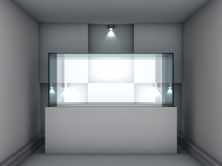 3d glass showcase and niche with spotlights for exhibit in the gallery Stock Photo - 14652547