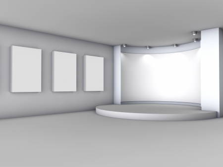3d empty niche with boxes and spotlights for exhibit in the grey interior