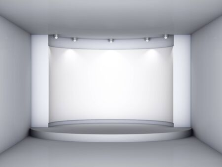 3d empty niche with podium and spotlights for exhibit in the grey interior  photo