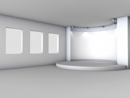 3d empty niche with boxes and spotlights for exhibit in the grey interior  photo