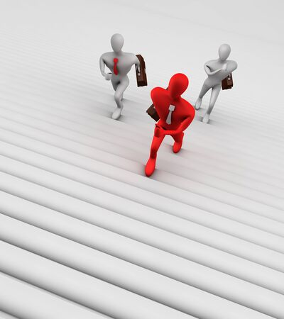 3d persons climbing the ladder photo