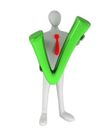 3d person with a green tick Stock Photo - 14652534