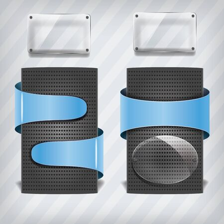 metallic stands with blue labels and transparency frame on the stripped background