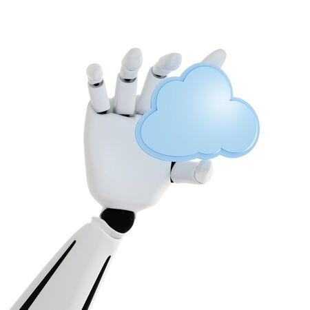 3d robotic hand with cloud computing icon on a white background photo
