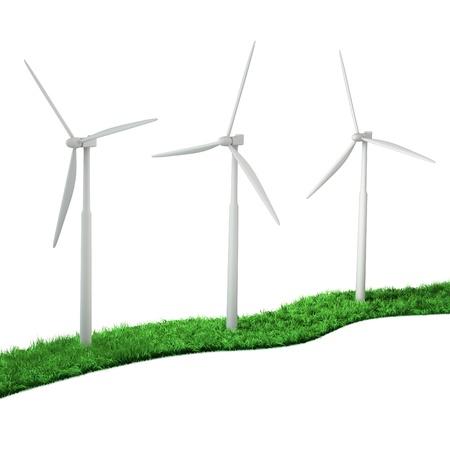 molinos de viento: turbinas de viento 3d en un camino verde de una hierba