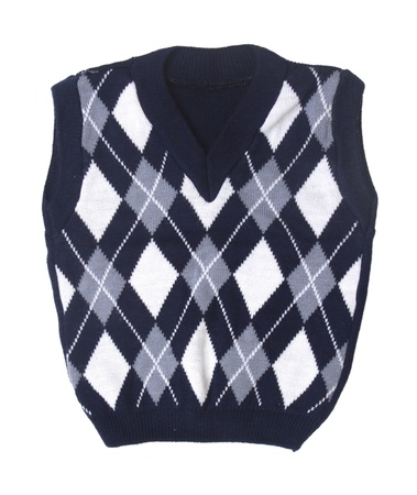 striped vest: plaid baby knitted vest on a white background   Stock Photo