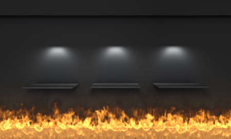 3d shelves and spotlights for exhibit with flame in the grey interior  photo