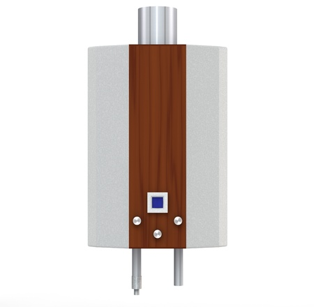thermodynamic: 3d metallic with wooden plank gas heater on a white background