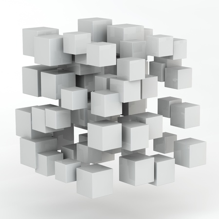 3d abstract random shape from cubes photo