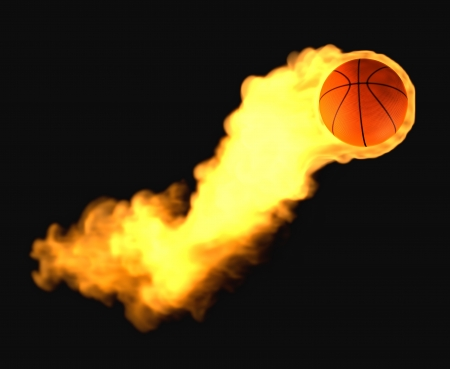 Flying basketball on fire Stock Photo