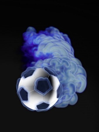 flying soccer ball in the blue flame photo