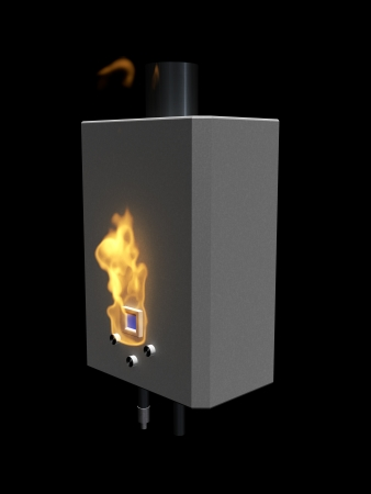 Gas boiler with flame on a black background   photo