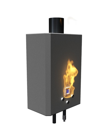 thermodynamic: Gas boiler with flame on a white background