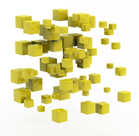 3d abstract shape made from golden cubes photo