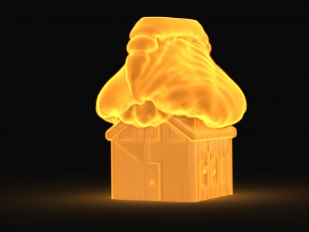 3d house in the fire concept photo
