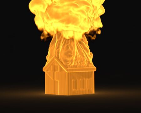 fire place: 3d house in the fire concept