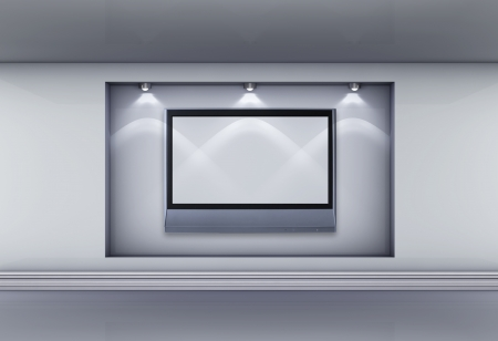 3d  niche with spotlights and empty lcd tv for exhibit in the grey interior. photo
