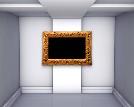 empty gallery with golden frame photo