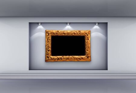 3d  niche with spotlights and empty picture frame for exhibit in the grey interior. photo