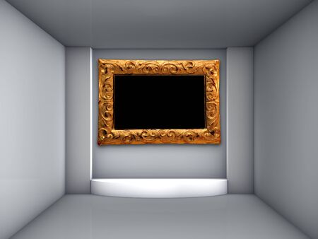 3d podium and ornate frame for exhibit in the grey interior  photo