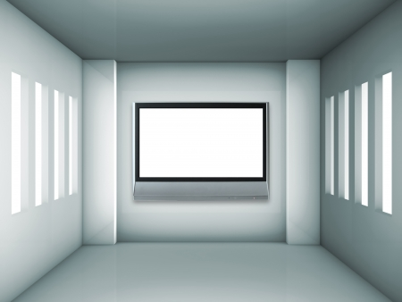 Empty gray interior with windows and lcd tv photo